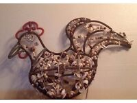 Decorative Metal Rooster Figure With Beads And Shell