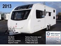 2013 SWIFT STERLING ECCLES LUXLINE (SPORT+) 636 - TWIN AXLE - SIX BERTH - FIXED BUNKS – SOLAR PANEL