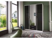 Trio 3 and 4 door Highe Gloss Wardrobe black colour/white colour