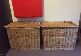 Medium wicker storage baskets x 2