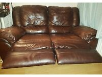2 Recliner leather sofas