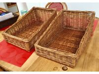 PAIR OF COUNTER TOP BREADBASKETS, EX RETAIL, SLOPED WILLOW WEAVE, STORAGE, FOOD TOY STORAGE,