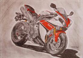 Painting, Motorcycle, Yamaha R1,Framed