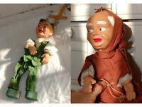 Vintage 1950s Pelham style puppets - Robin Hood & Fryer Tuck 13in - AllinsiteUK