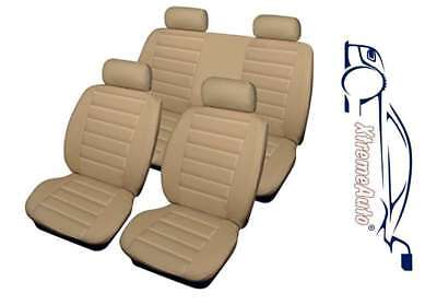 Universal Bloomsbury Beige Leather Look 8 PCE Car Seat Covers For Renault Clio
