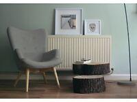 Fabric vintage armchair (light grey) - retro grey wooden armchair
