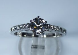 GIA Certified 18k White Gold 0.66ct Diamond Accent Engagement Ring rrp £3,250