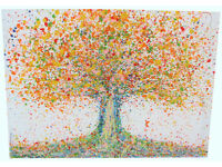VERY LARGE ABSTRACT AUTUMN TREE MODERN ART NEW PAINTING ON LOOSE LANDSCAPE CANVAS | Free Shipping