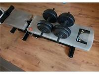 GYM bench and weights for sale!!! Dumbells