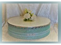 CAN POST Reduced NEW Round Diamante Rhinestone Mint Aqua Wedding Cake Display Stand (small fault)