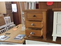 Ex Display Julian Bowen Marlborough Oak 3 Drawer Bedside Table Can Deliver View Collect Kirkby NG177