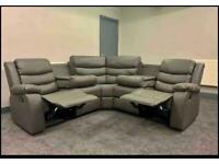 Brand new grey leather corners sofa