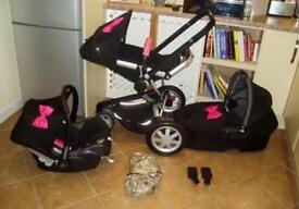 Quinny Buzz 3 Complete Travel System Black With Pink Customs