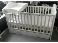 Mamas and papas white lucia cotbed, mattress, storage drawer and cot top changer.