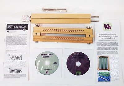 """Authentic Knitting Board 10"""" with extenders, metal pegs KB, 2 DVD's"""