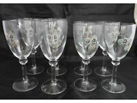 Set of 8 decorated Wine glasses - 4 med sized glasses and 4 Slightly larger