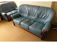 Blue Leather Sofa Vintage Style 3 Seater Antique