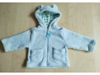 Light Blue Fleece Coat/Jacket with Bear Ears Baby Clothes 0-6 Months