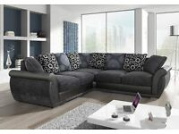 BRAND NEW SHANNON LEATHER & FABRIC CORNER SOFA WITH EXTRAS IN BLACK/GREY OR BROWN (FREE DELIVERY)