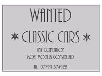 WANTED! CLASSIC CARS! Any condition, most models considered