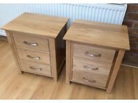 New Pair Of Solid Oak Bedside Chests. Boxed.