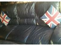 Scs black leather 3 seater and 2 seater very comfy sofas DETAILS BELOW