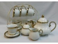 16PC TEA SET WITH STAND WHITE WITH GOLD RIM