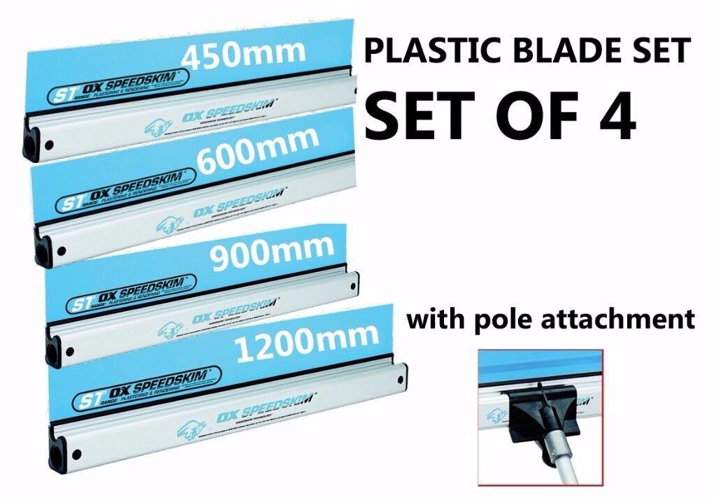 4X OX SPEEDSKIM ST RANGE SEMI FLEXIBLE PLASTERING RULE 450, 600, 1200, 900MM + POLE ATTACHMENT