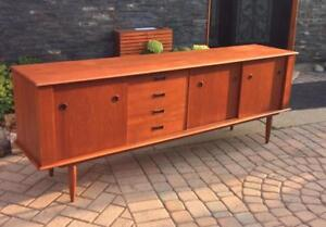 REFINISHED Danish Mid Century Modern Teak Sideboard Buffet TV Media Record Console 7 ft