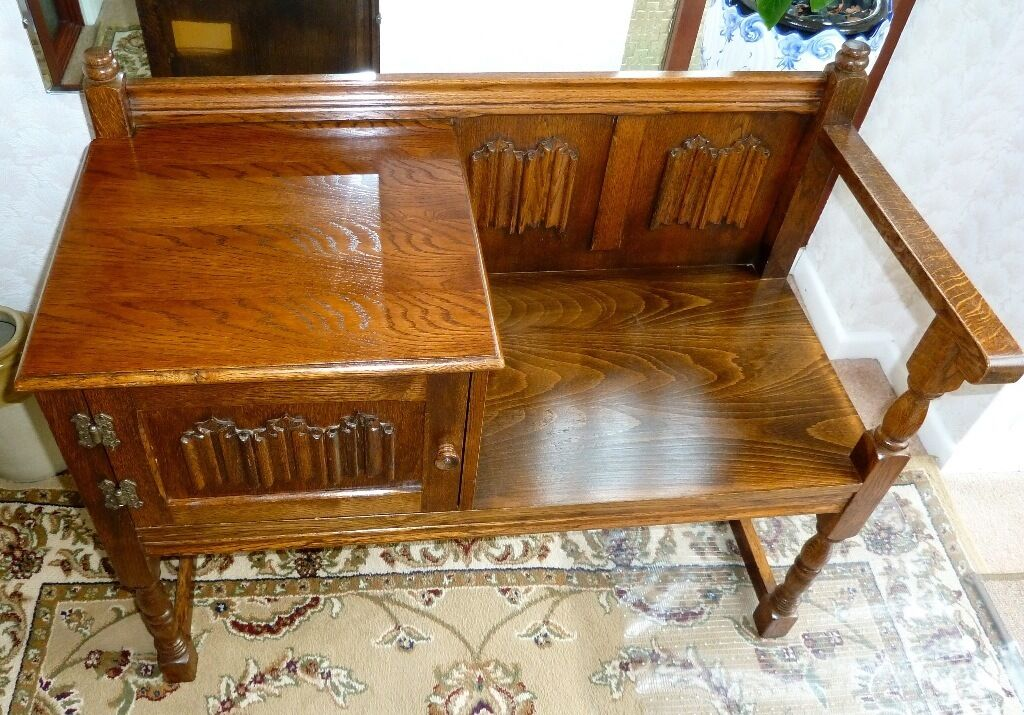 Old Charm Wood Bros Oak Telephone Seat Table In