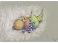 original still life of fruit drawn in pastels