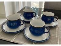Denby Imperial blue teacups and saucer x 4