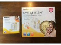 Medela swing maxi double electric breast pump and storage bottles