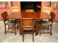 Beautility Walnut Dining Table & Chairs - Coffee Table Unusual Rare Retro Vintage Delivery Available