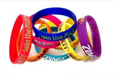 Zumba Fitness 'Ready for Lift‑Off!' Rubber Bracelets Pack of 8, NEW WITH TAGS!