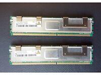 2x 2GB DDR2 PC2-5300F HYS72T256420HFN ECC Fully Buffered Server Ram