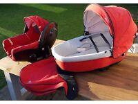 "Bebe Confort travel system: Creatis Fix car seat & base, Windoo lie-flat ""car cot"". Loola pushchair"