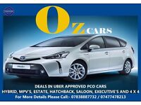 PCO CARS FOR HIRE, TOYOTA PRIUS, HONDA INSIGHT, CITROEN C4 GRAND PICASSO. UBER APPROVED X & XL CARS