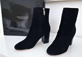 BRAND NEW BOXED - Womens Designer Ankle Boots - J by Jasper Conran - Black Suede 'Jones' - Size 5