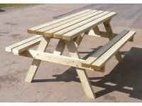 Picnic bench table seat, brand new, 6ft long, very strong, treated wood, £110 ono
