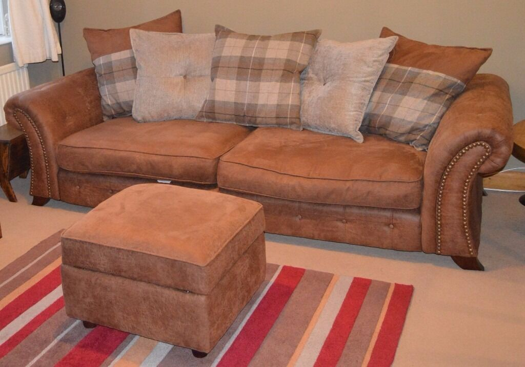 Perfect ***REDUCED***DFS 4 Seater Pillow Back Sofa U0026 Footstool
