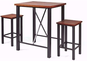 3piece pub set table and 2 chairs high top sturdy metal frame wood vintage