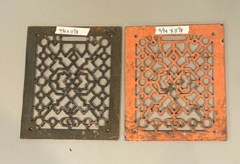 2 Cast Iron grate/vent COVERS craftsman Victorian wall/floor matching pair