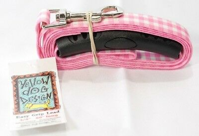 Yellow Dog Design Southern Dawg Gingham Pink Dog Leash with Comfort Grip Hand T2