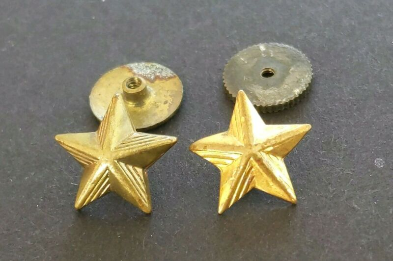 Vintage Military Gold Color Screw Back Stars