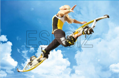 Men Kangaroo Bouncing Shoes Jumping Stilts FitnessExercise 110-150 Lbs Black