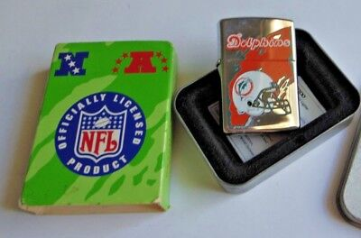 1997 Miami Dolphins NFL Zippo Lighter Chrome Un-fired  *MINT NICE*