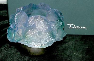 DAUM FRANCE Pate De Verre 'PHOTOPHORE HIBISCUS ARGENT' Fairy Lamp Candle MIB