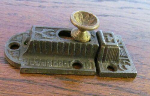 Antique Ornate Eastlake Cabinet Cupboard  Brass Slide knob Latch Lock Vtg