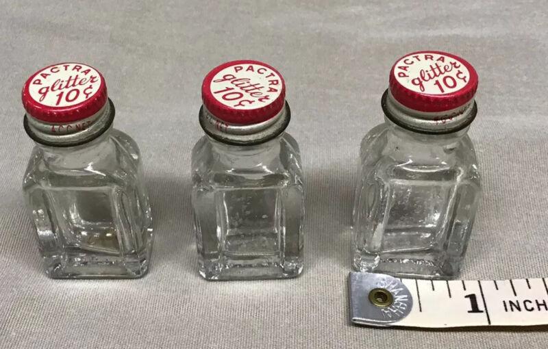 3 Pactra Glitter Vintage Glass Bottles  Metal Lid Sold As Lot